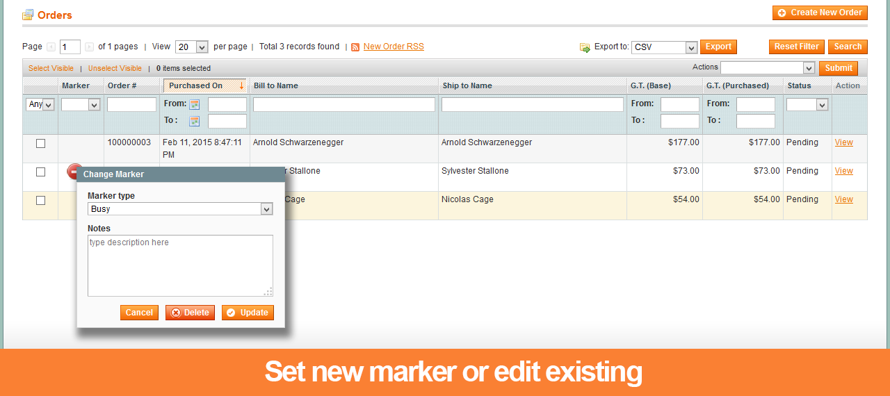 Setting a new marker or edit existing - Order markers extension for Magento 1
