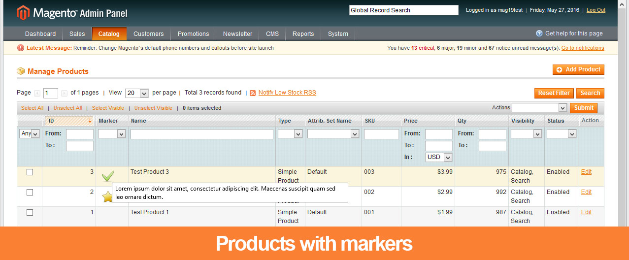 Product markers - Magento 1 extension