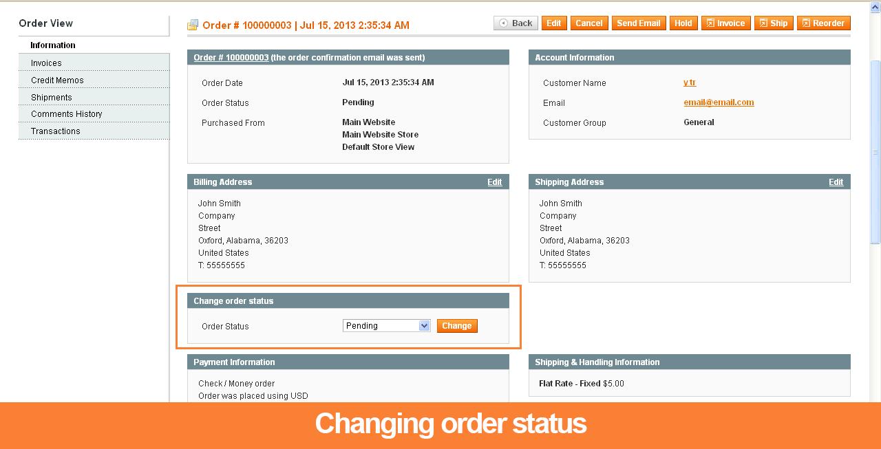Changing Order Status